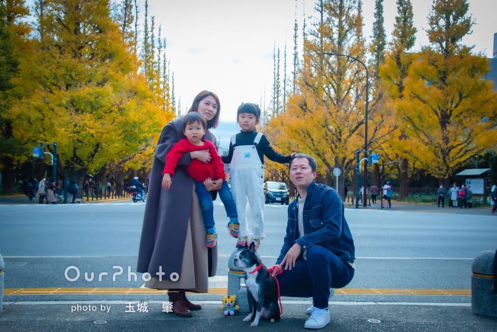 「人見知りの子供たちもニコニコでした」愛犬も一緒に家族写真の撮影
