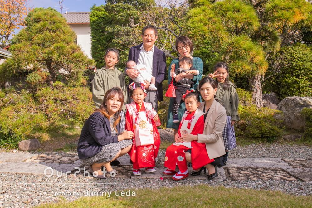 日本髪にお洒落な髪飾りをつけて笑顔がきらめく七五三の撮影