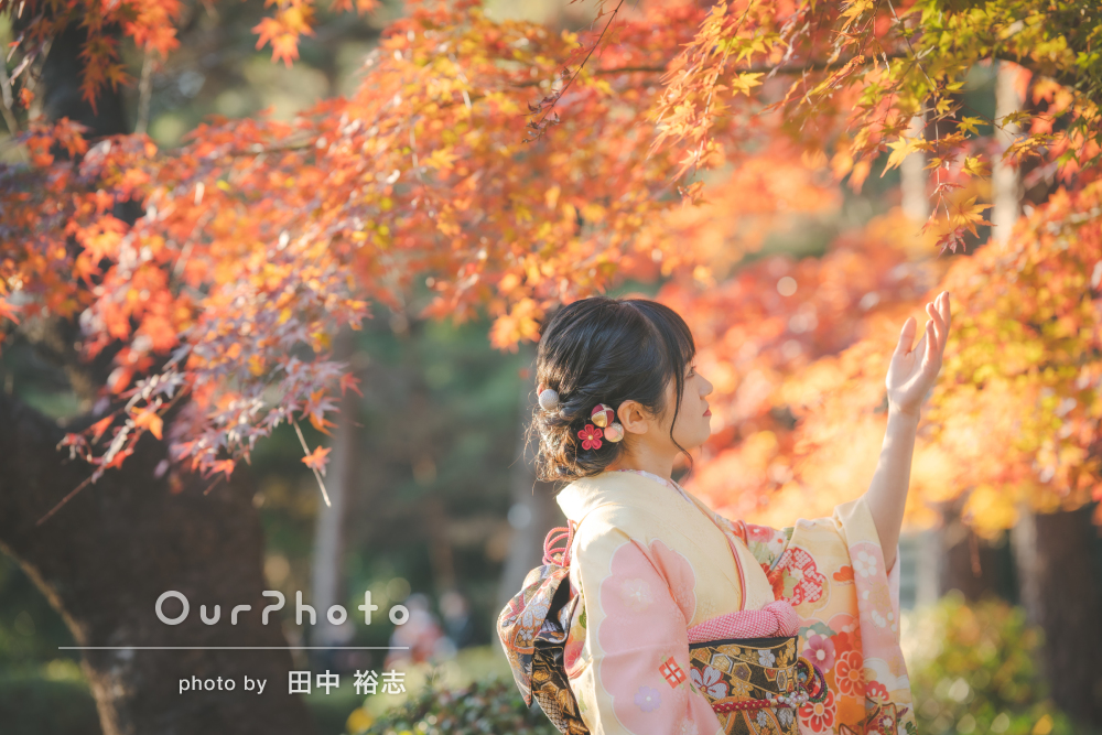 「写真の仕上がりも文句なしの満点」紅葉が美しい神社で成人式の前撮り