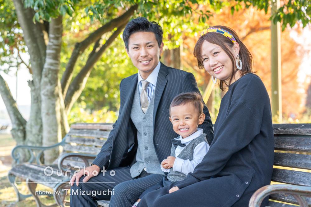 「良いお写真を撮って頂けて嬉しいです」海沿いの公園で家族写真の撮影