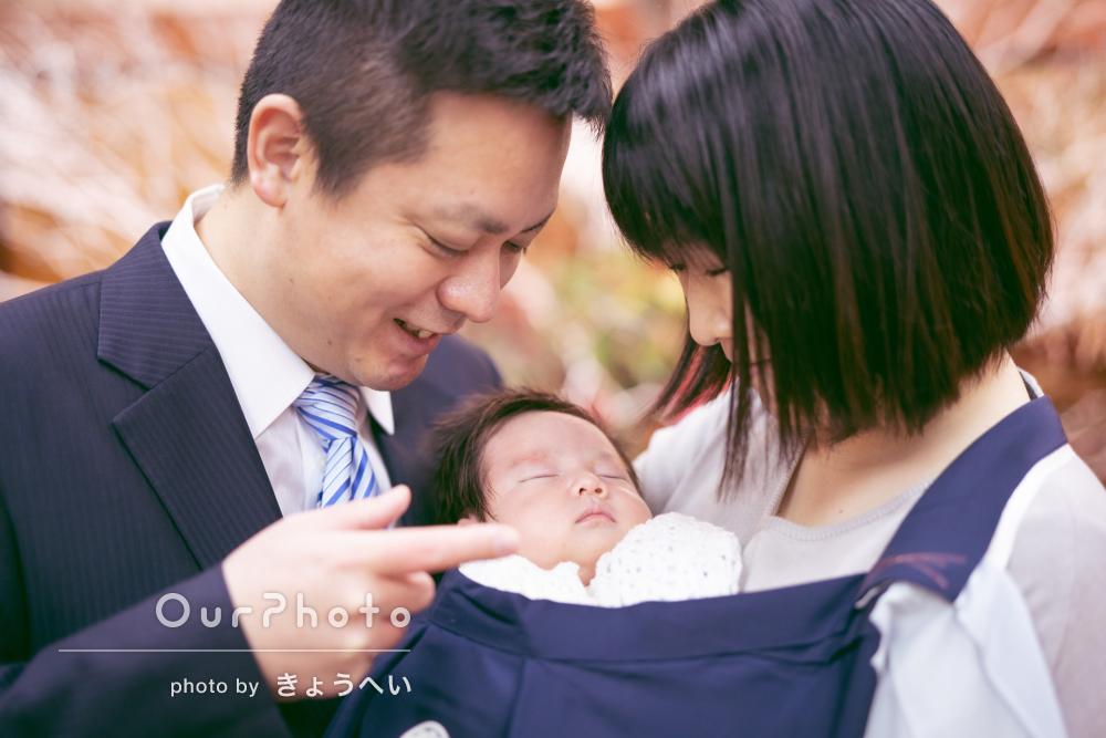 「屋内、屋外ともいい写真を撮影」赤ちゃんの健康祈願お宮参りの撮影