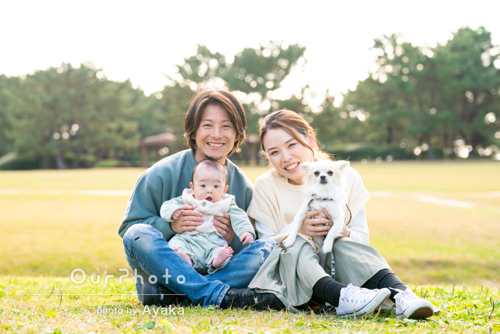 「お話をしながら緊張をほぐして頂いた」広々とした公園で家族写真の撮影