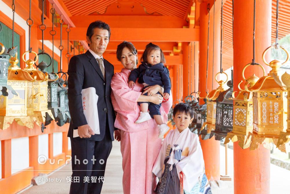 「家族揃ったお写真は我が家の宝物です」5歳男の子の七五三の撮影