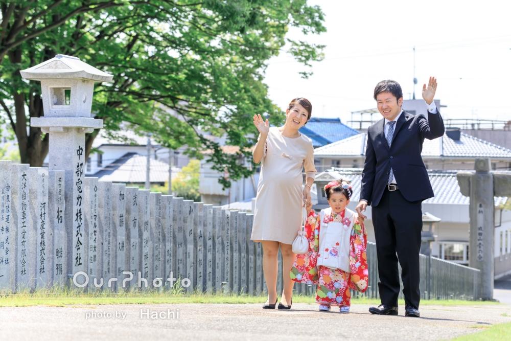 お誕生日に合わせて3歳の七五三詣!ママのマタニティフォトも兼ねた家族写真の撮影