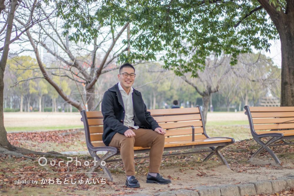 まだ紅葉が残る河川敷や公園で笑顔あふれるプロフィール写真の撮影