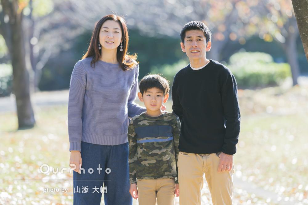「光が綺麗な写真に大満足です」緑豊かな公園で家族写真の撮影