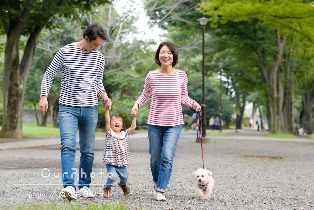 毎年撮影している結婚記念日の写真を娘さんと愛犬と一緒に!家族写真の撮影
