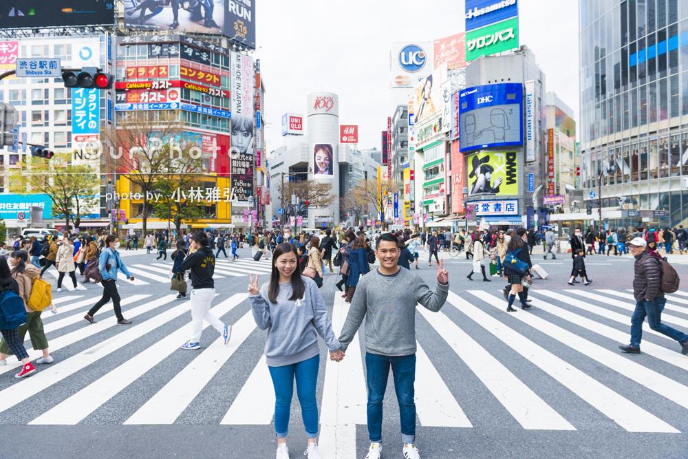 「渋谷から原宿まで道のりを歩きながら撮影」カップルフォトの写真撮影