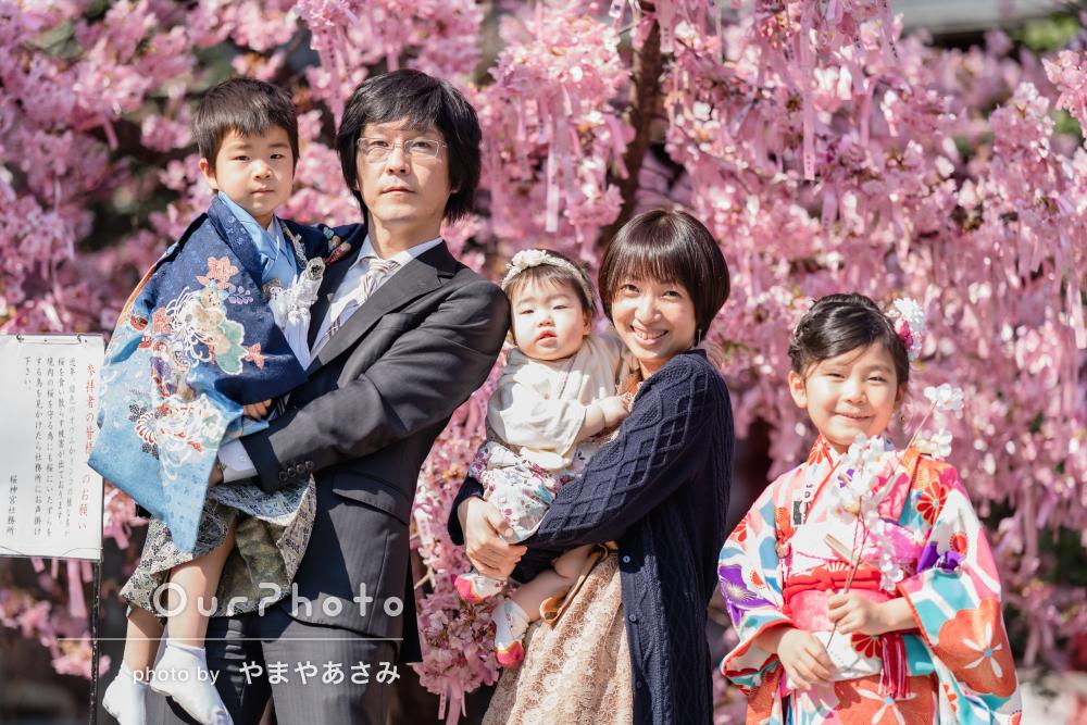 「この方にお願いして良かった」桜と晴れ着姿で華やかな七五三の撮影