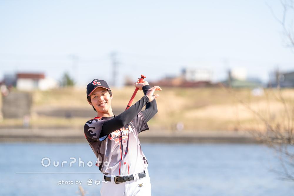 野球を楽しまれている姿が素敵なプロフィール写真の撮影