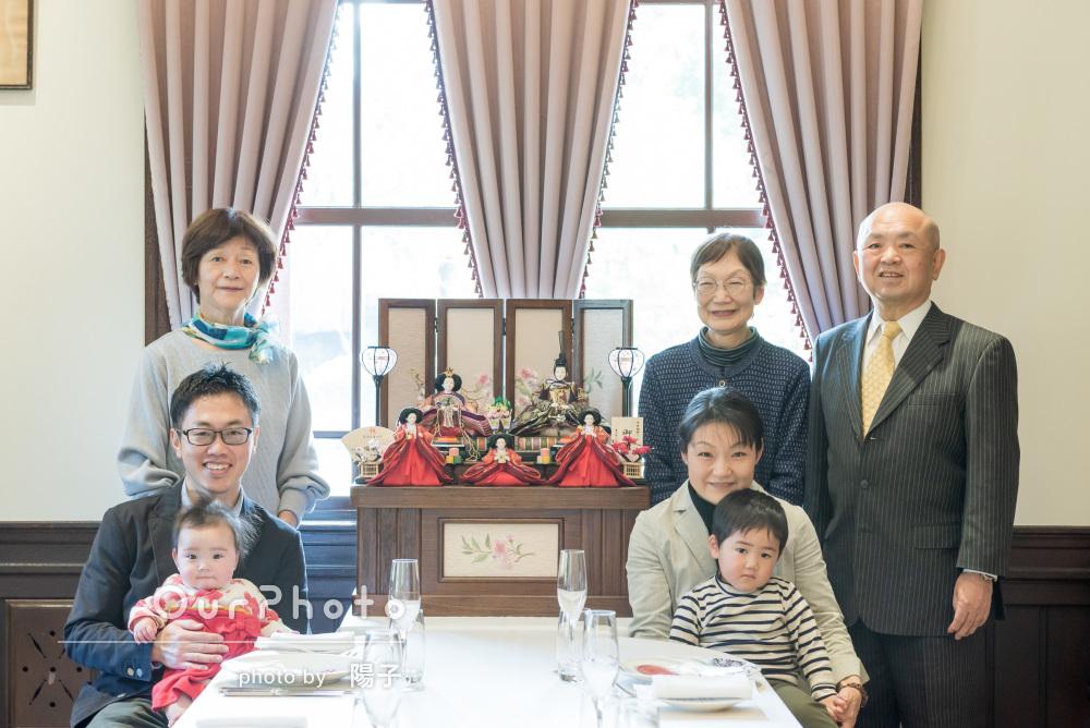「楽しく行うことができました」初めての桃の節句に家族写真の撮影