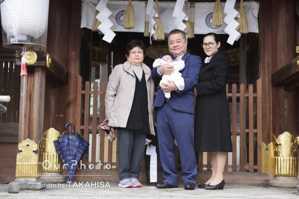 「家族みんなよろこんでいました」雨模様の中でお宮参りの撮影