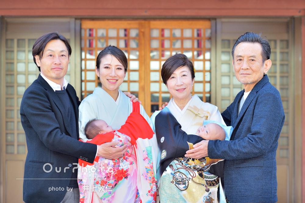 「色々とご配慮頂き安心してお任せ」双子の赤ちゃんの初宮参りに記念撮影