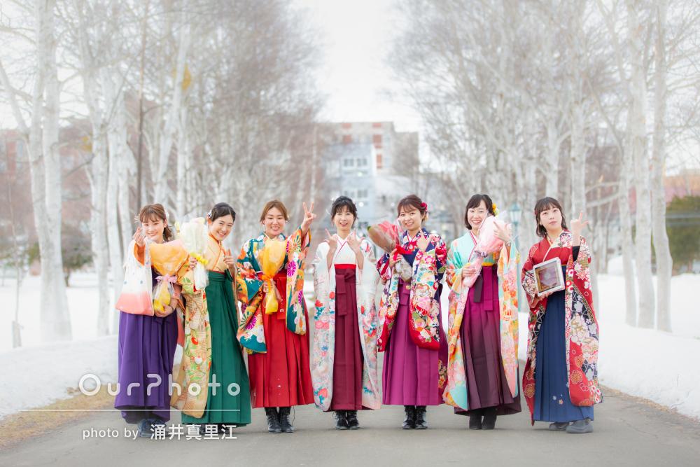 「いろいろな場所で撮影していただき」卒業式に袴姿で友フォトの撮影