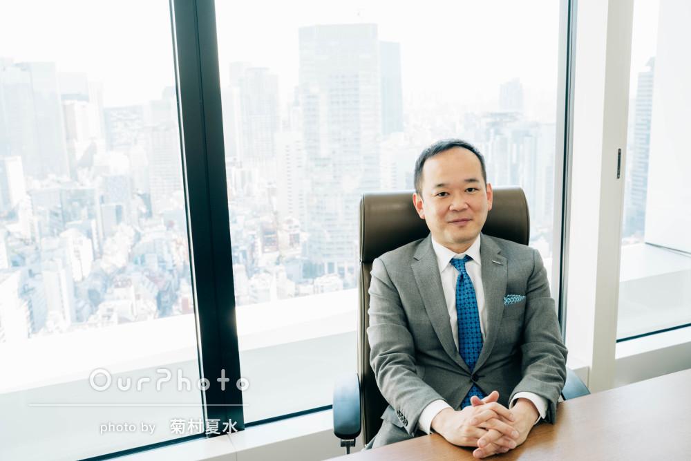 オフィスでスマートなビジネス用に!男性プロフィール写真の撮影