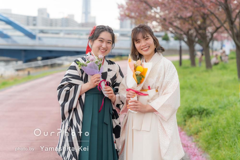 「とても素敵な写真を撮ることができました」友人と袴姿で卒業記念の撮影