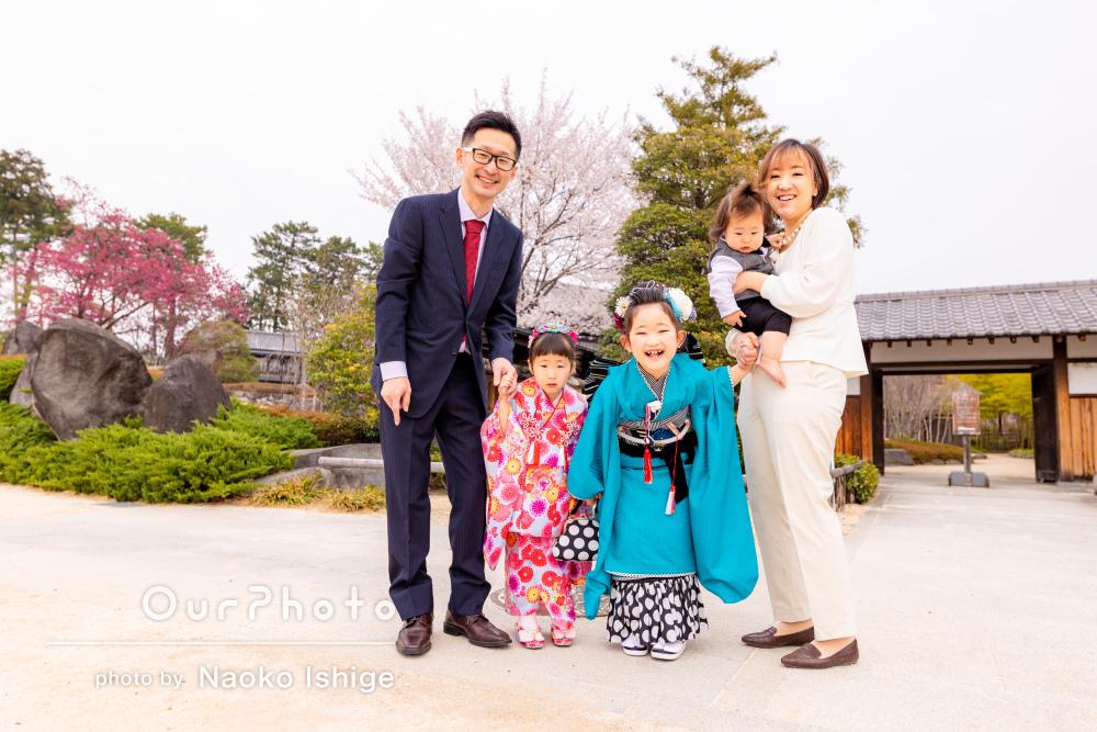 「とても良い写真がたくさん撮れて満足」春らしい三姉弟の七五三の後撮り
