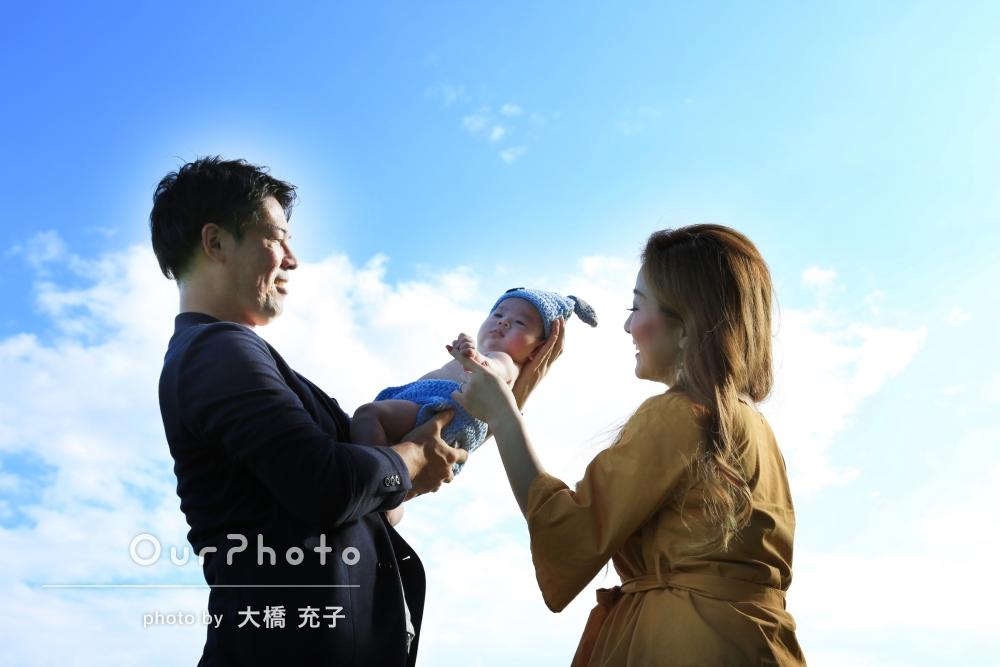 「本当に楽しい撮影会でした」公園で、赤ちゃんと初めての家族写真撮影