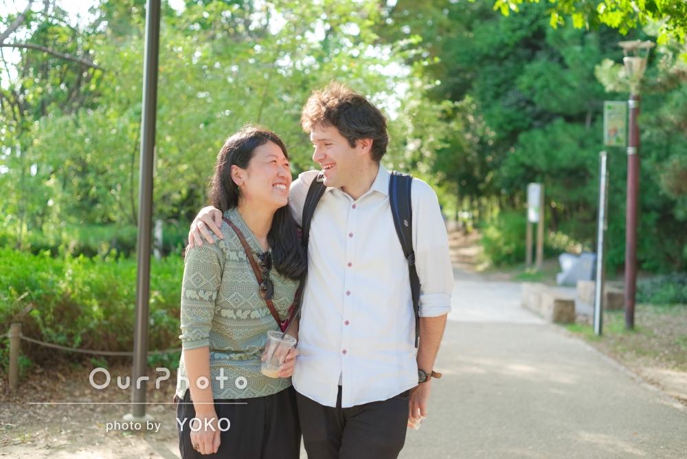 「緊張することなく楽しめました」普段訪れる公園でのカップル撮影