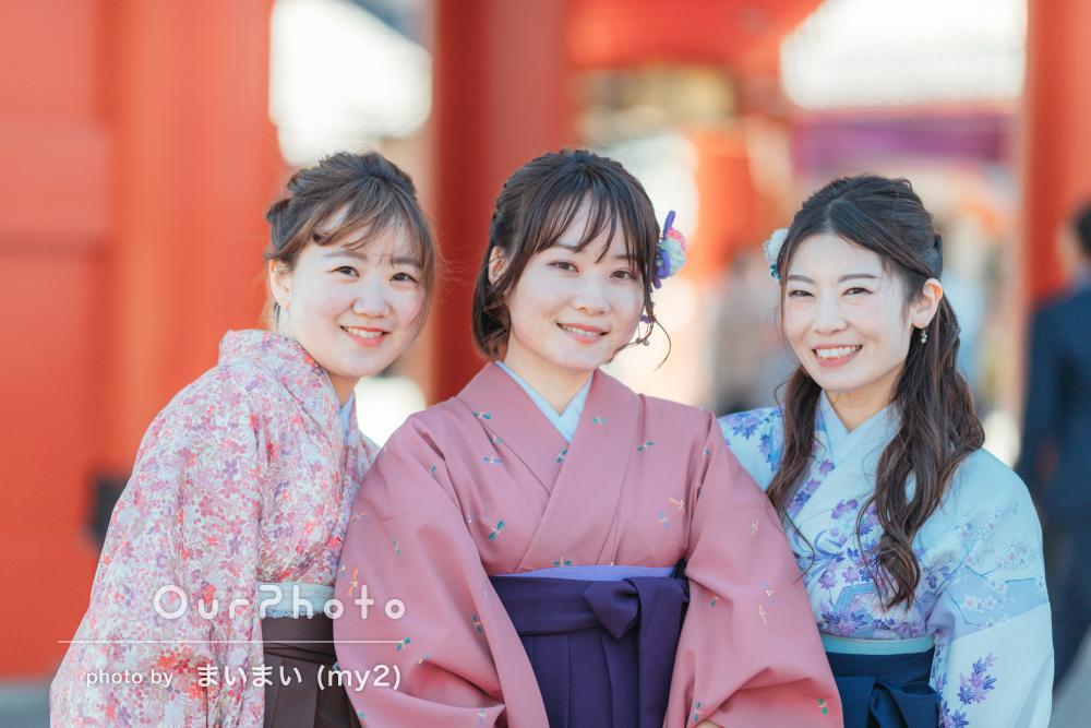 「とても楽しく撮影できました」袴姿で友だちと卒業記念フォトの撮影