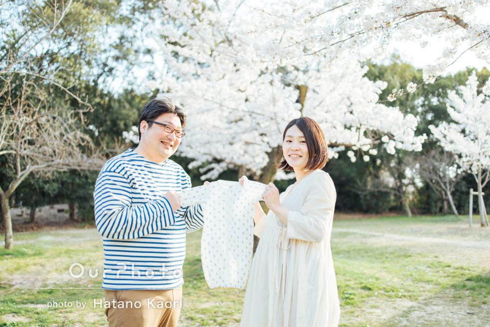 「本当に良い記念になり良かった」桜の下でマタニティフォトの撮影