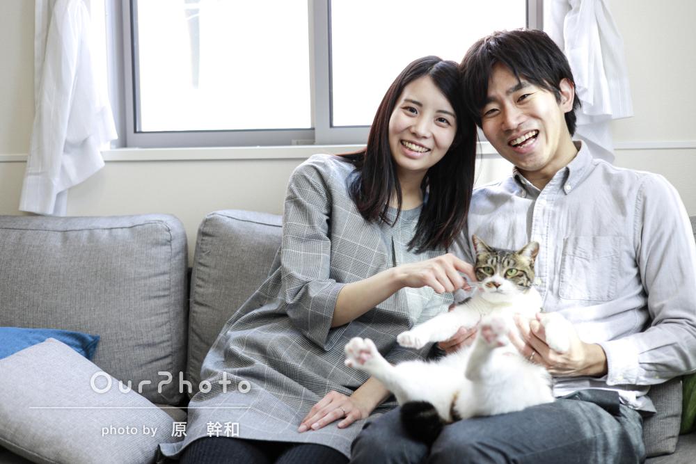 「和やかな雰囲気で落ち着いて」愛猫と一緒に新婚カップルフォトの撮影