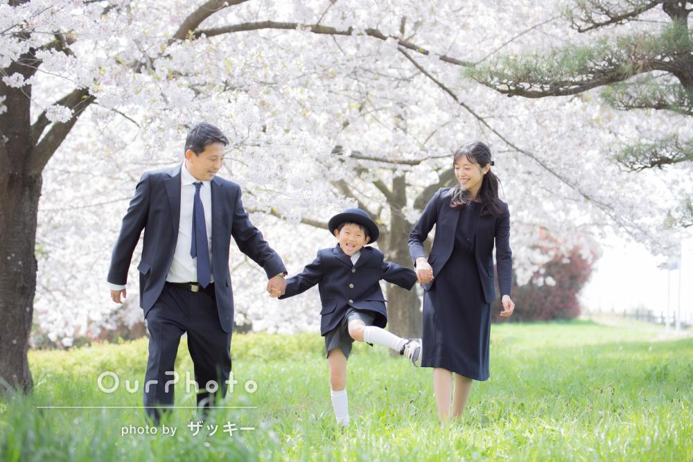 「自然な表情や笑顔を引き出してくださいました」入学記念の家族写真撮影
