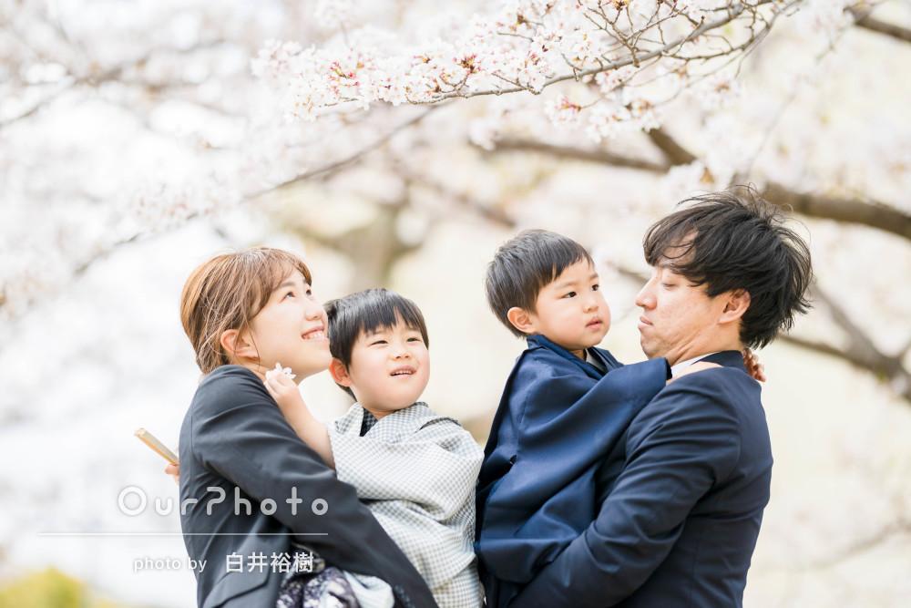 「とっても綺麗に写真に収めていただき」桜を背景にご兄弟の七五三の撮影