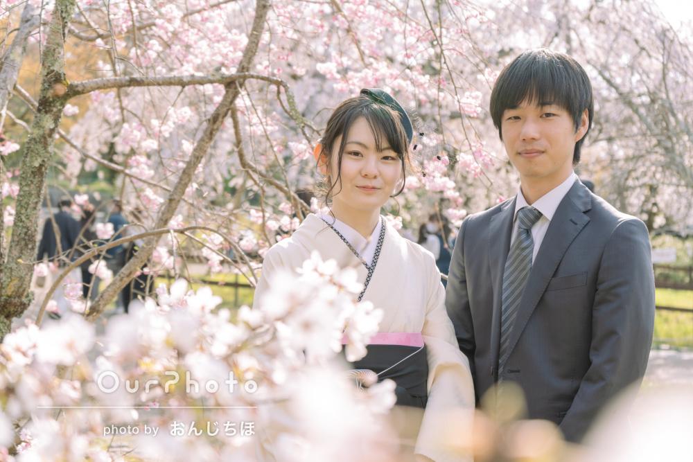 「とても楽しくできました」桜のスポットを巡りながらカップルフォト撮影