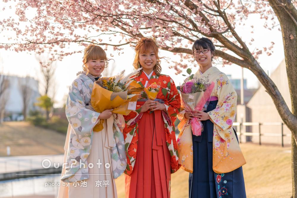 夕日に照らされた桜の中で袴姿が素敵な卒業記念の友フォトの撮影
