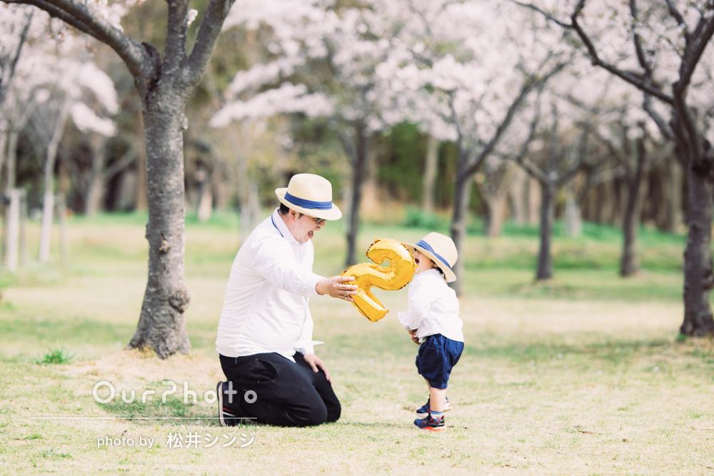 「とても満足しています」桜と一緒にマタニティフォトと家族写真の撮影