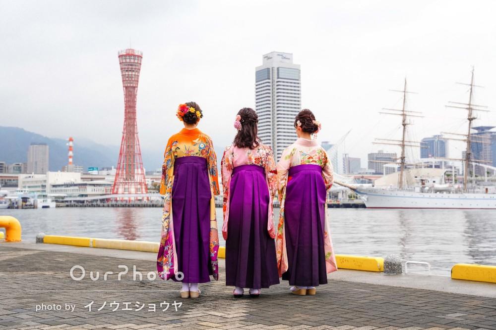 異国情緒漂う街の人気スポットで紫色の袴姿でオシャレな友フォト撮影