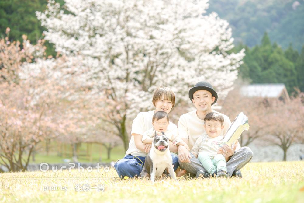 「子どもたちのペースに合わせてゆったりと」愛犬と一緒に家族写真の撮影