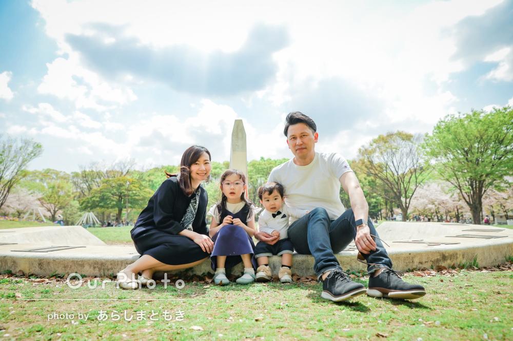 「桜をバックに素敵な写真をたくさん撮って頂きました」家族フォトの撮影