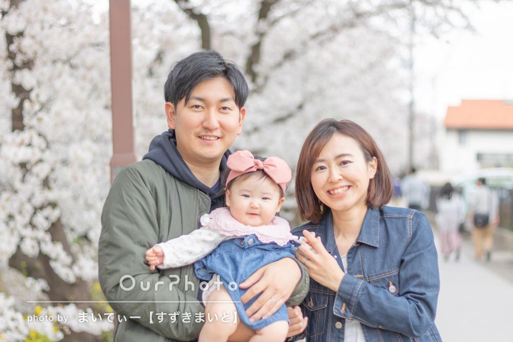 明るく柔らかな笑顔がいっぱい!満開な桜並木の下で家族写真の撮影