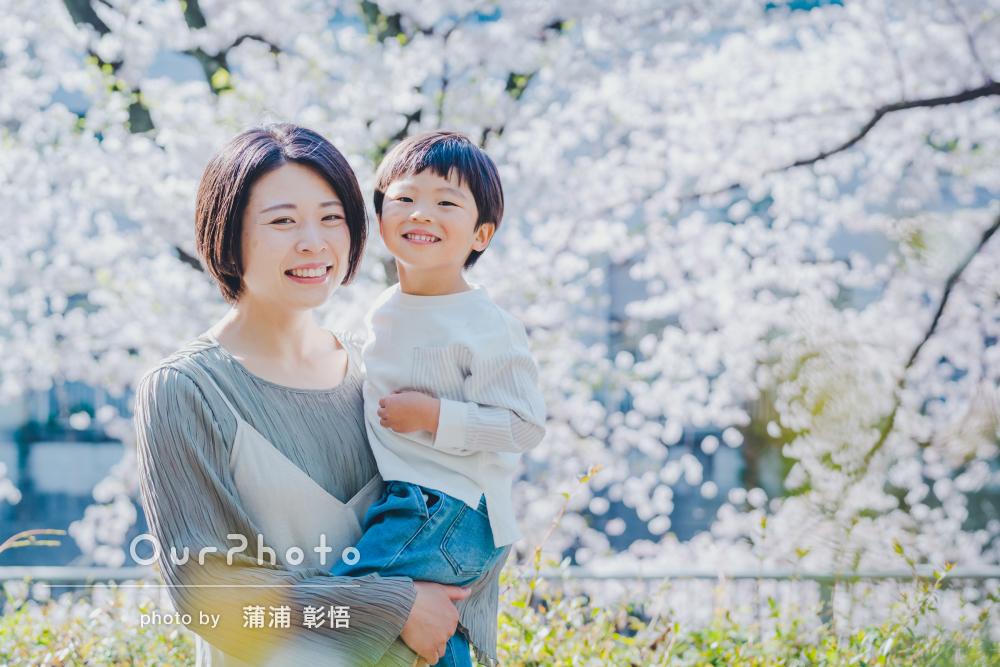 「とてもキレイで、どの写真も自然な良い表情」桜の下で家族写真の撮影