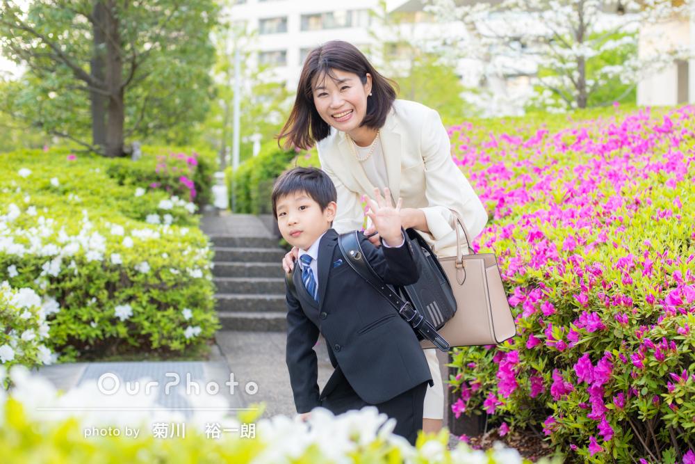 「とっても素敵なお写真」小学校入学の記念に楽しげな家族写真の撮影