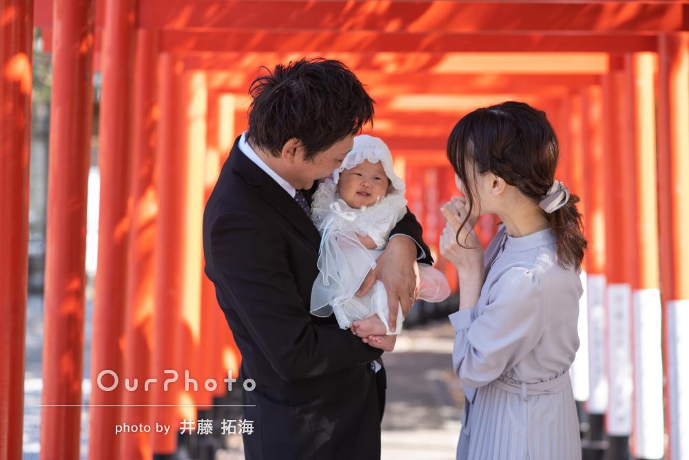 「素敵な思い出になりました」鳥居の並ぶ神社で女の子のお宮参りの撮影