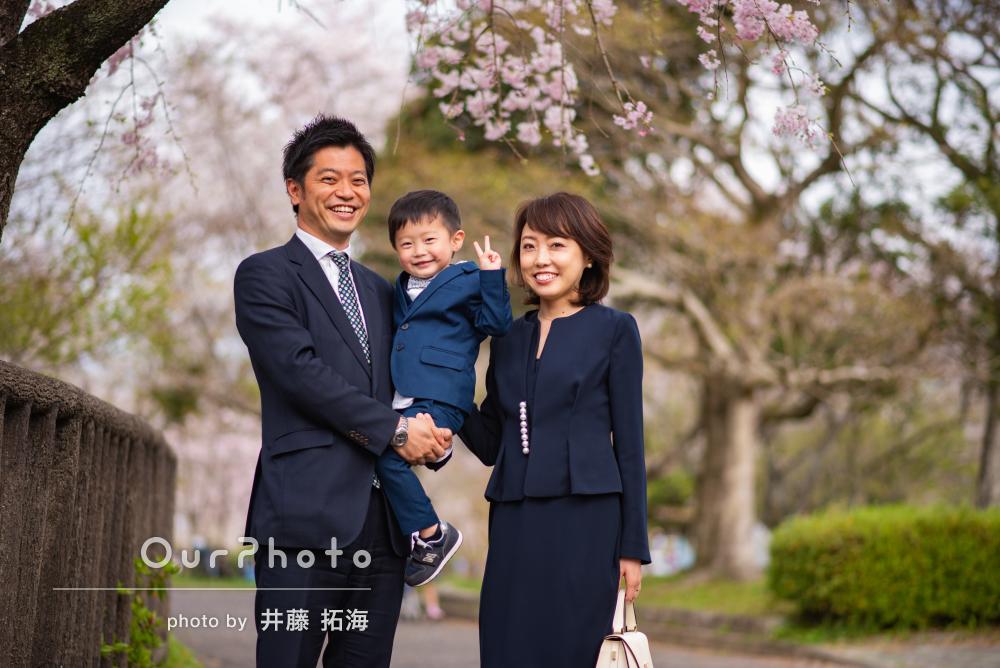「とてもよかったです」桜並木の下で幼稚園入園記念に家族写真の撮影