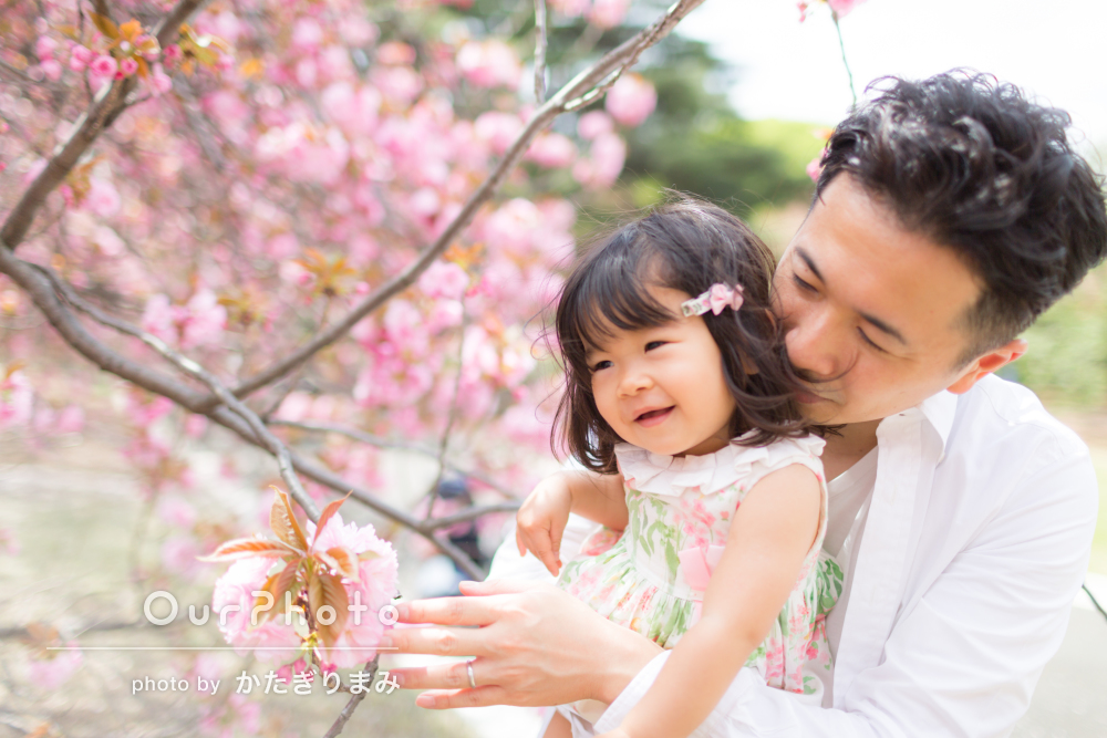 「娘の成長を、桜とともに素敵な思い出の一瞬として形に」家族写真の撮影