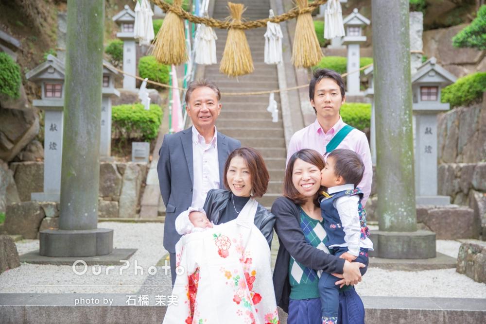 祖父母様もご一緒に!笑顔いっぱいお宮参りの撮影