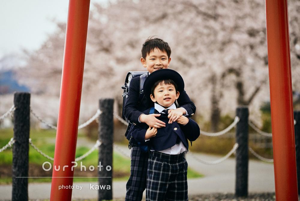 「桜と共に素敵な記念写真が撮れました」入園入学の記念に家族写真撮影