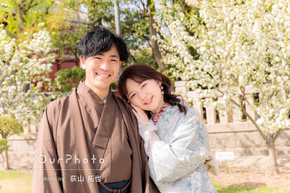 天候にも恵まれた和服姿でのデートが微笑ましいカップルフォトの撮影