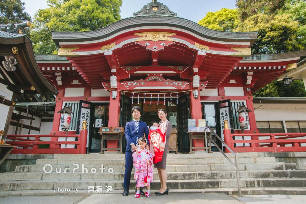 「構図が綺麗で色合いも素敵」姉妹の晴れ着が可愛らしいお宮参りの撮影