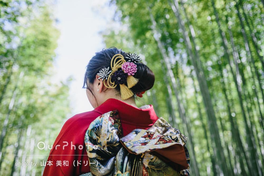 「素敵な写真ありがとうございました」竹林の中で赤が映える成人式の撮影