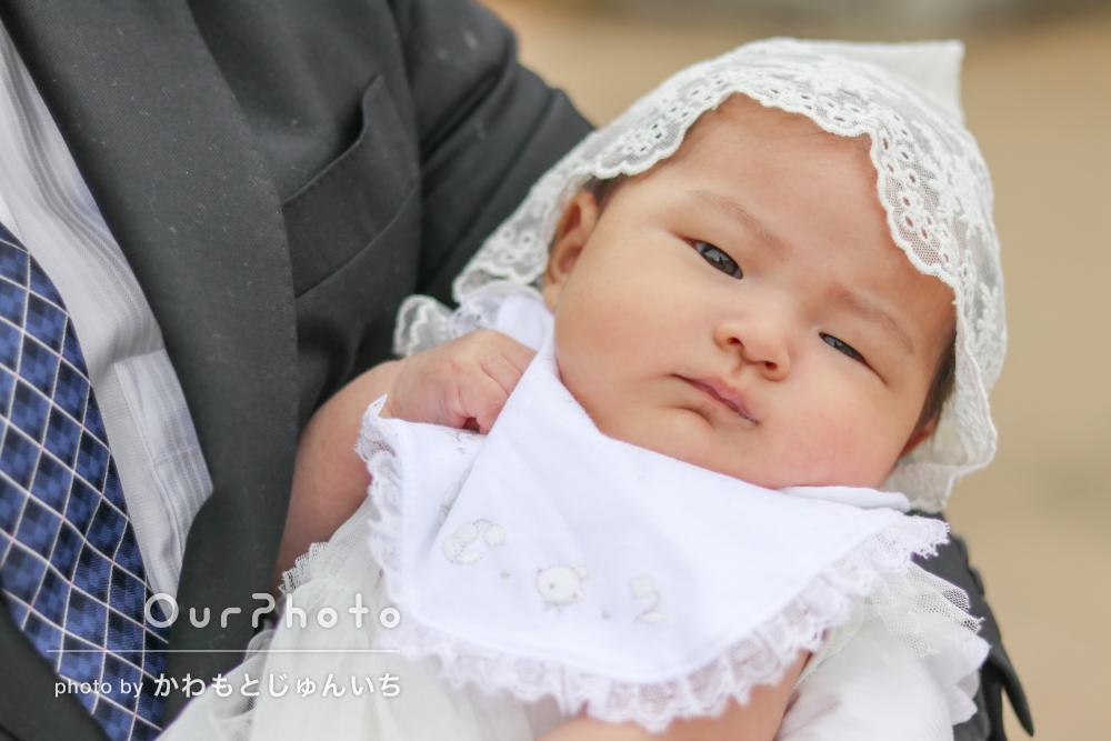 「大切な日の良い思い出となりました!」かわいい表情でお宮参りの撮影