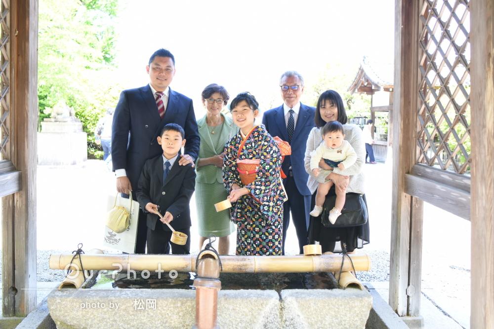 「家族一同大変喜んで居ます」着物を着て京都のお寺で十三詣りの撮影