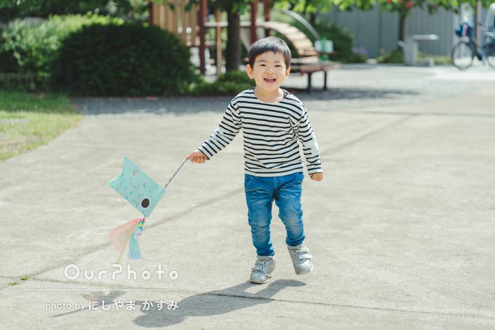 「子供が楽しく無理なく撮影できる」3歳のお誕生日に家族写真の撮影