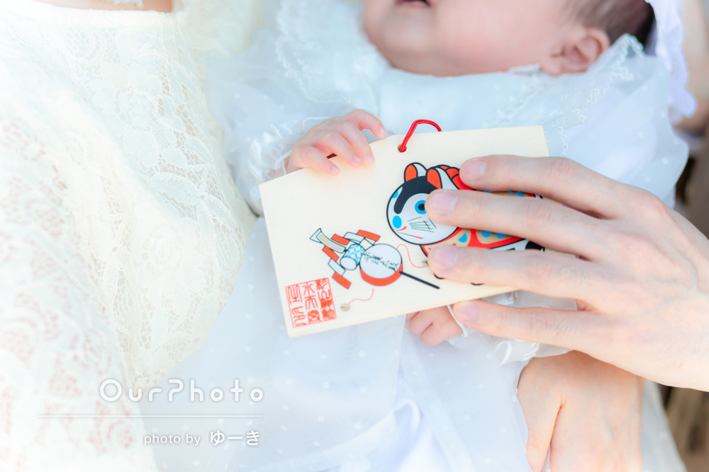 「沢山話しかけて頂きとても自然体に」女の子の赤ちゃんのお宮参りの撮影