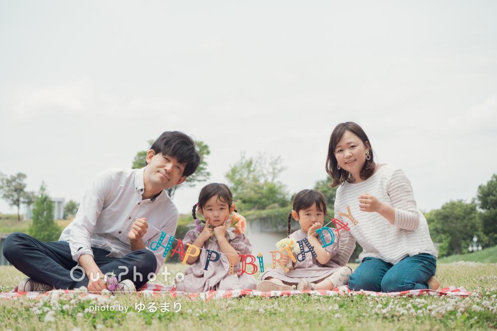 「どれも本当に素敵な写真」かわいい3歳のバースデーに家族写真の撮影